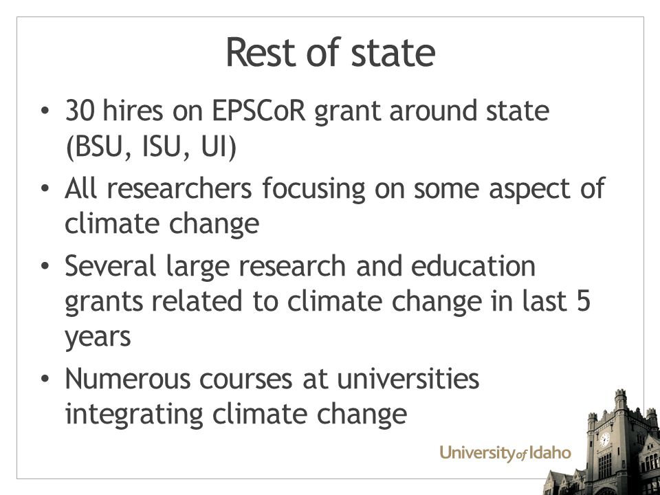 What this means for transfer students New k12 Next Generation Science Standard include climate change Courses at universities incorporating climate science and change Community colleges: opportunity to help increase exposure