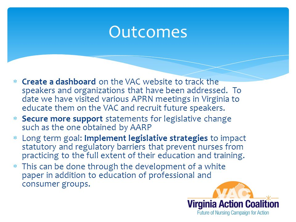  Create a dashboard on the VAC website to track the speakers and organizations that have been addressed.