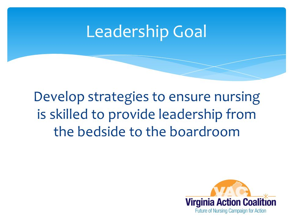 Develop strategies to ensure nursing is skilled to provide leadership from the bedside to the boardroom Leadership Goal