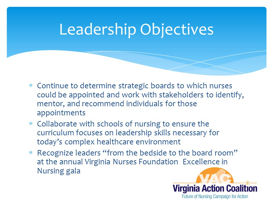  Continue to determine strategic boards to which nurses could be appointed and work with stakeholders to identify, mentor, and recommend individuals for those appointments  Collaborate with schools of nursing to ensure the curriculum focuses on leadership skills necessary for today's complex healthcare environment  Recognize leaders from the bedside to the board room at the annual Virginia Nurses Foundation Excellence in Nursing gala Leadership Objectives
