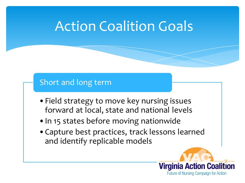 Field strategy to move key nursing issues forward at local, state and national levels In 15 states before moving nationwide Capture best practices, track lessons learned and identify replicable models Short and long term Action Coalition Goals