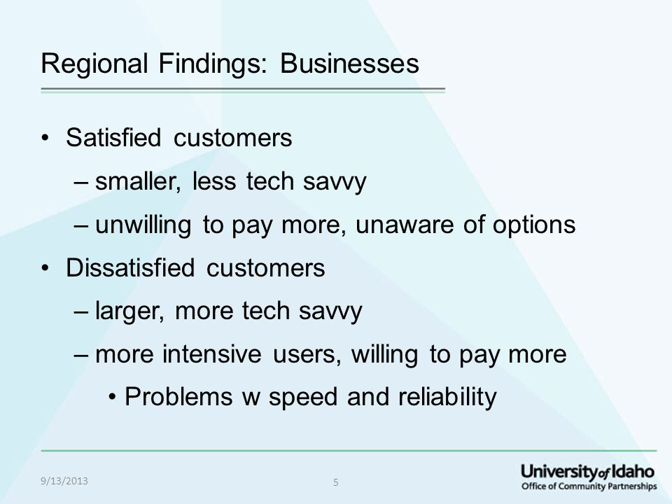 Regional Findings: Businesses Satisfied customers –smaller, less tech savvy –unwilling to pay more, unaware of options Dissatisfied customers –larger, more tech savvy –more intensive users, willing to pay more Problems w speed and reliability 9/13/2013 5