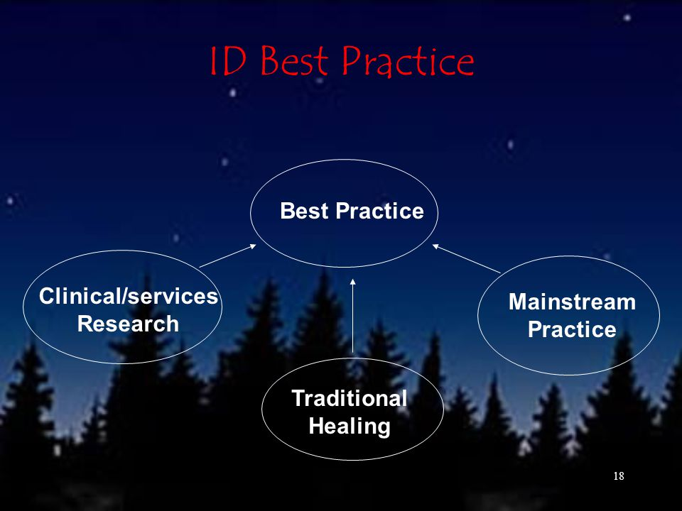 18 ID Best Practice Best Practice Clinical/services Research Traditional Healing Mainstream Practice