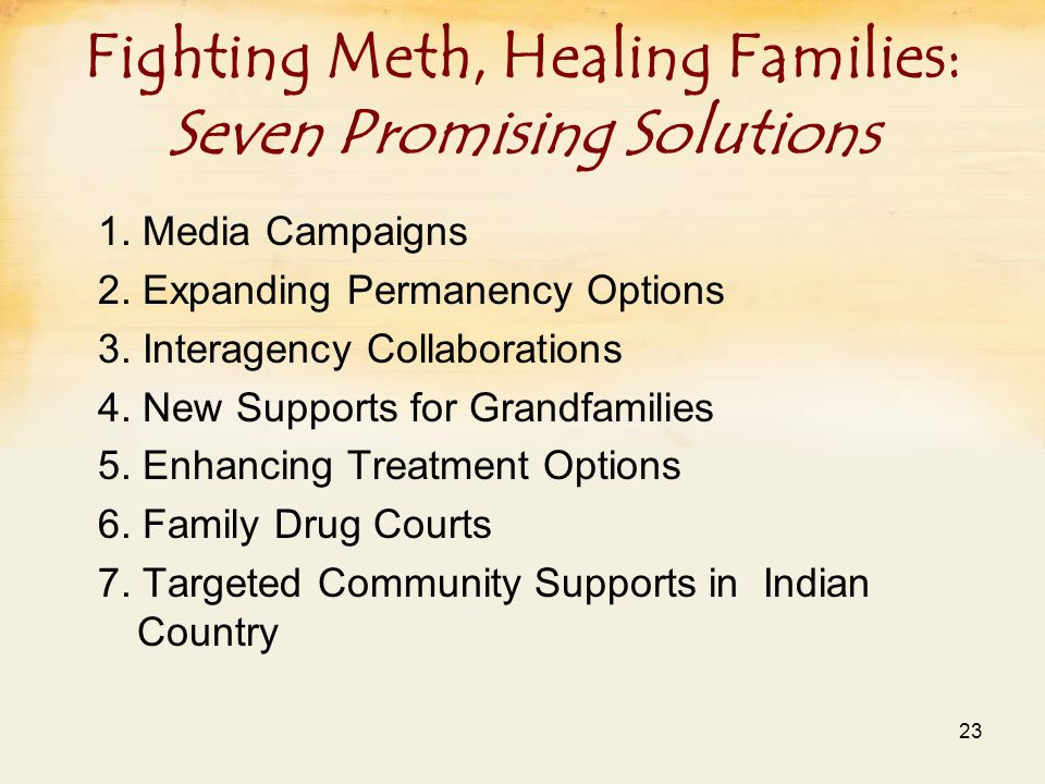 Fighting Meth, Healing Families: Seven Promising Solutions 1.