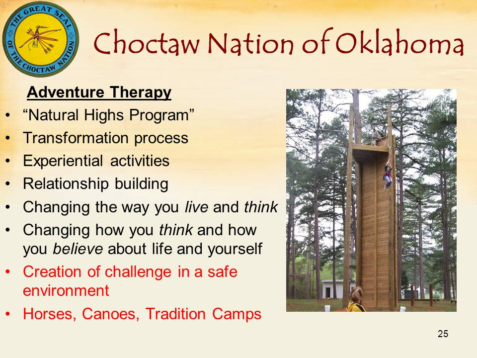 Choctaw Nation of Oklahoma Adventure Therapy Natural Highs Program Transformation process Experiential activities Relationship building Changing the way you live and think Changing how you think and how you believe about life and yourself Creation of challenge in a safe environment Horses, Canoes, Tradition Camps 25