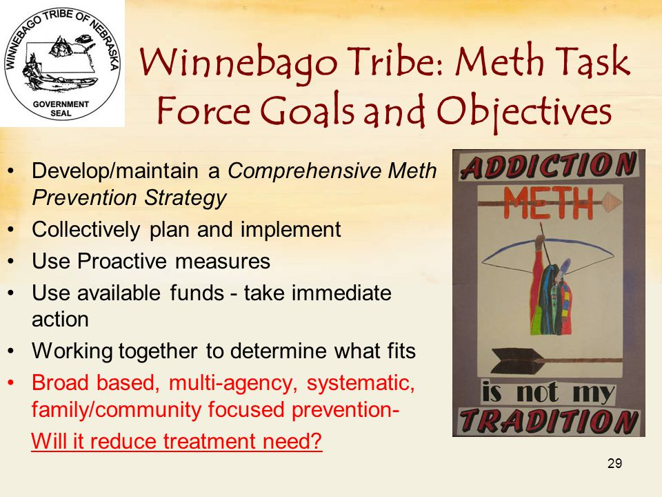 Winnebago Tribe: Meth Task Force Goals and Objectives Develop/maintain a Comprehensive Meth Prevention Strategy Collectively plan and implement Use Proactive measures Use available funds - take immediate action Working together to determine what fits Broad based, multi-agency, systematic, family/community focused prevention- Will it reduce treatment need.