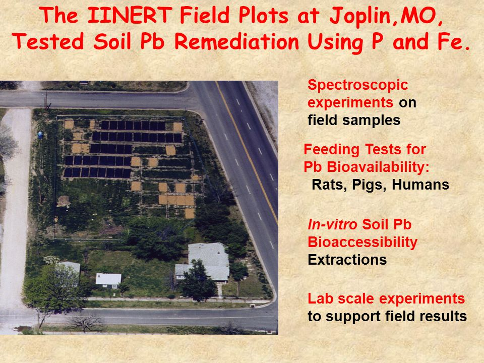 In-vitro Soil Pb Bioaccessibility Extractions Spectroscopic experiments on field samples Lab scale experiments to support field results The IINERT Field Plots at Joplin,MO, Tested Soil Pb Remediation Using P and Fe.