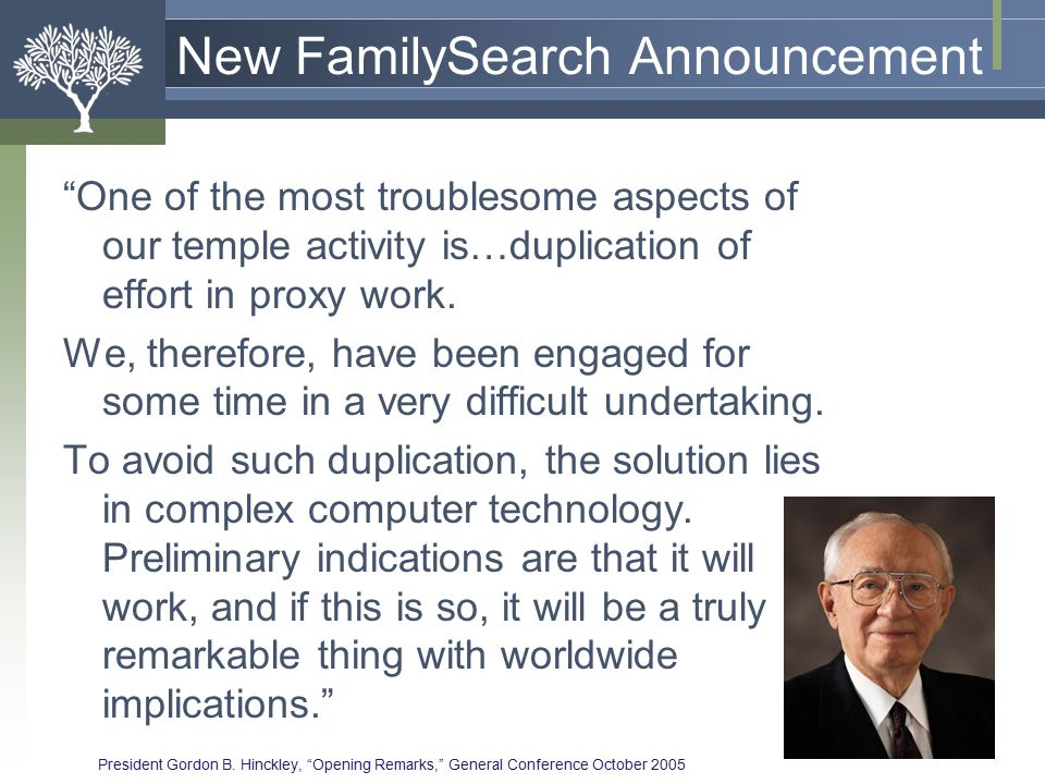 Decision: Simplify the Process Preparing Family Names for the Temple Temple 5.