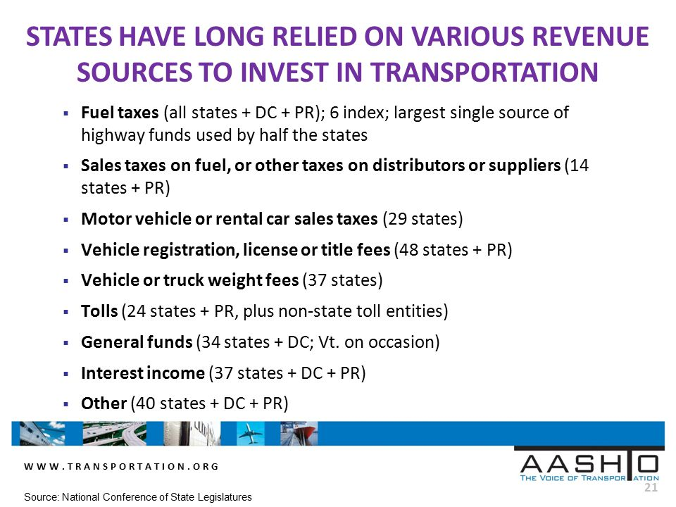 WWW.TRANSPORTATION.ORG 21  Fuel taxes (all states + DC + PR); 6 index; largest single source of highway funds used by half the states  Sales taxes on fuel, or other taxes on distributors or suppliers (14 states + PR)  Motor vehicle or rental car sales taxes (29 states)  Vehicle registration, license or title fees (48 states + PR)  Vehicle or truck weight fees (37 states)  Tolls (24 states + PR, plus non-state toll entities)  General funds (34 states + DC; Vt.