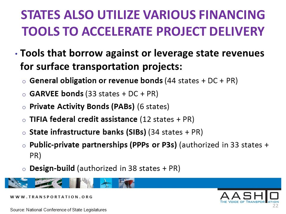 WWW.TRANSPORTATION.ORG 22 Tools that borrow against or leverage state revenues for surface transportation projects: o General obligation or revenue bo