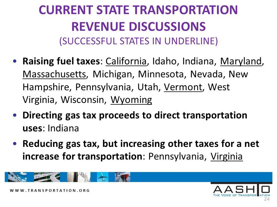WWW.TRANSPORTATION.ORG 24 Raising fuel taxes: California, Idaho, Indiana, Maryland, Massachusetts, Michigan, Minnesota, Nevada, New Hampshire, Pennsyl