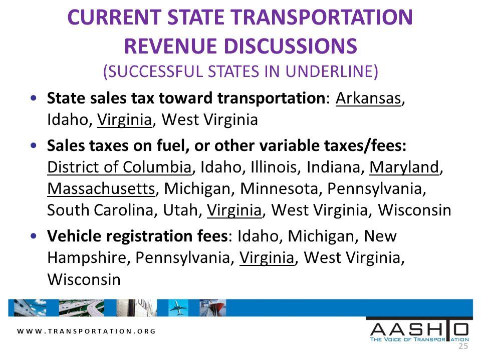 WWW.TRANSPORTATION.ORG 25 State sales tax toward transportation: Arkansas, Idaho, Virginia, West Virginia Sales taxes on fuel, or other variable taxes