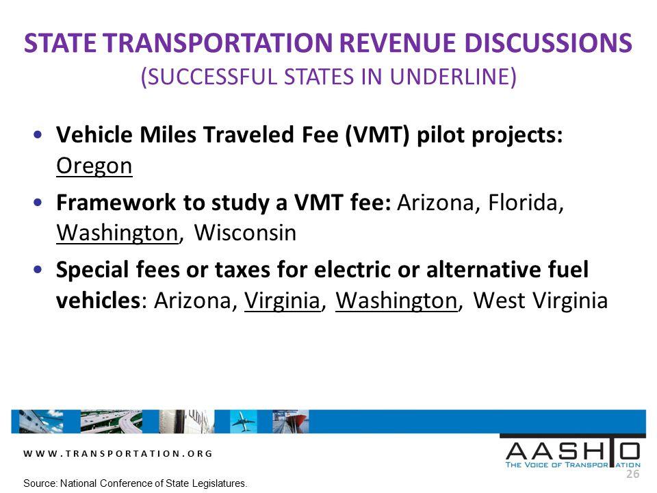 WWW.TRANSPORTATION.ORG 26 Vehicle Miles Traveled Fee (VMT) pilot projects: Oregon Framework to study a VMT fee: Arizona, Florida, Washington, Wisconsi