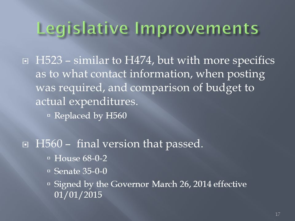  H523 – similar to H474, but with more specifics as to what contact information, when posting was required, and comparison of budget to actual expenditures.
