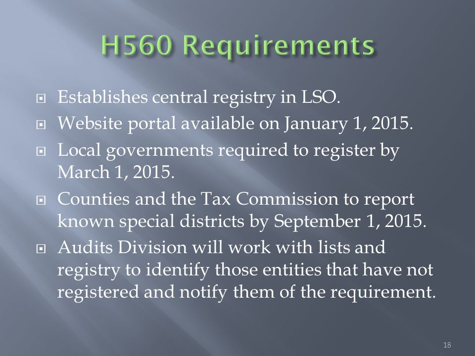  Establishes central registry in LSO.  Website portal available on January 1, 2015.