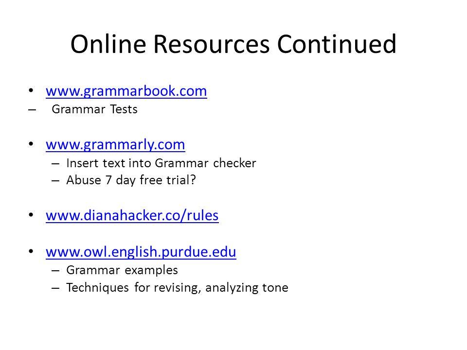 Online Resources Continued www.grammarbook.com – Grammar Tests www.grammarly.com – Insert text into Grammar checker – Abuse 7 day free trial.