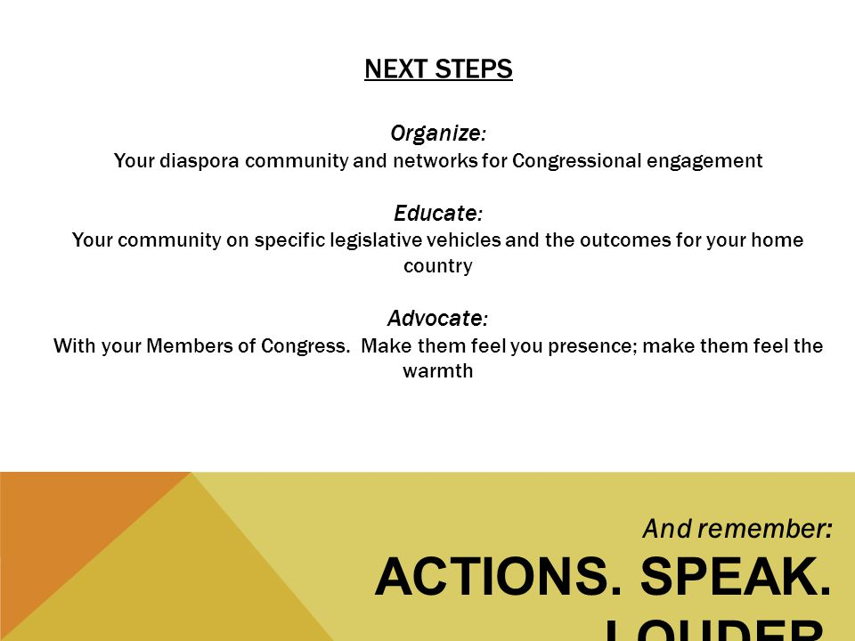 NEXT STEPS Organize: Your diaspora community and networks for Congressional engagement Educate: Your community on specific legislative vehicles and the outcomes for your home country Advocate: With your Members of Congress.