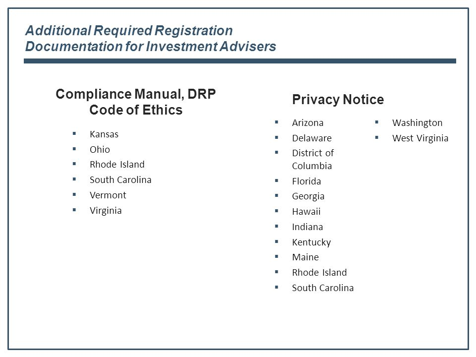 Additional Required Registration Documentation for Investment Advisers Compliance Manual, DRP Code of Ethics  Kansas  Ohio  Rhode Island  South Carolina  Vermont  Virginia Privacy Notice  Arizona  Delaware  District of Columbia  Florida  Georgia  Hawaii  Indiana  Kentucky  Maine  Rhode Island  South Carolina  Washington  West Virginia