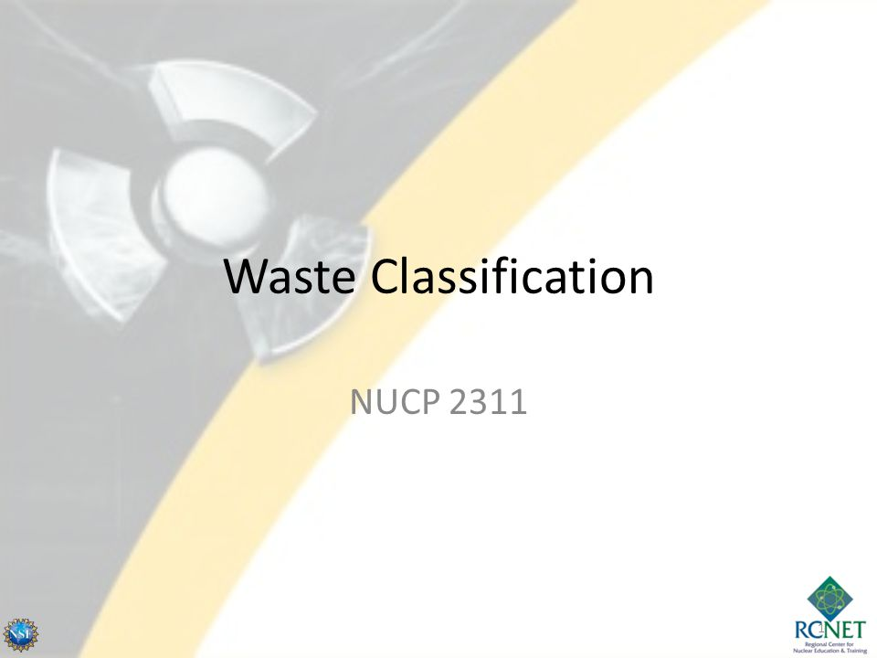 Waste Classification NUCP 2311 1