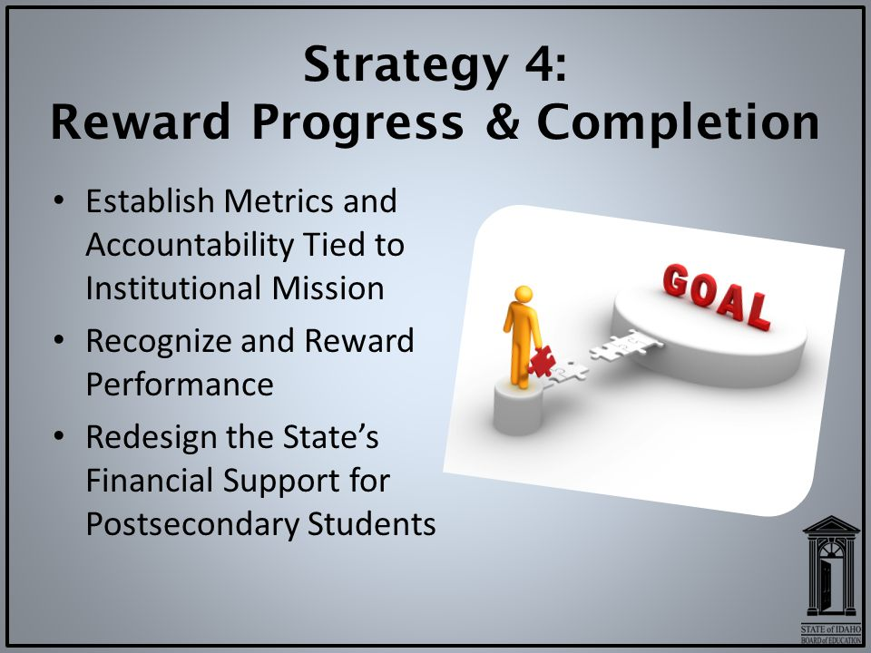 Strategy 4: Reward Progress & Completion Establish Metrics and Accountability Tied to Institutional Mission Recognize and Reward Performance Redesign the State's Financial Support for Postsecondary Students