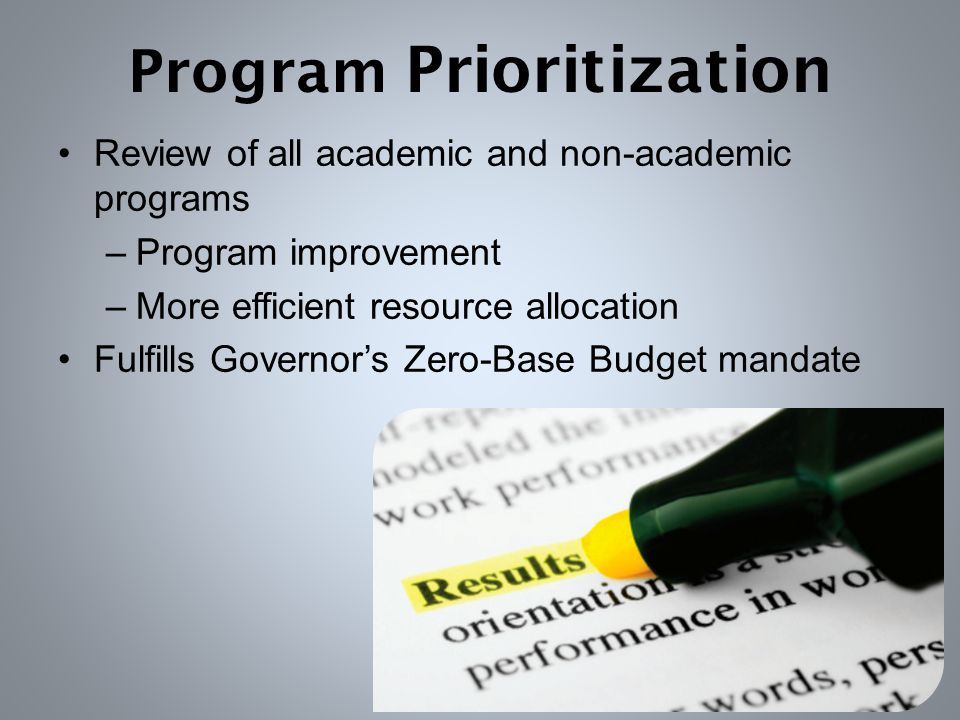 Program Prioritization Review of all academic and non-academic programs –Program improvement –More efficient resource allocation Fulfills Governor's Zero-Base Budget mandate