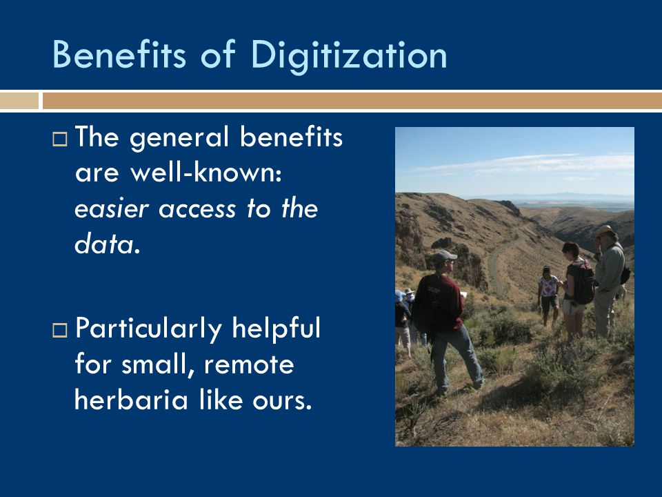 Benefits of Digitization  The general benefits are well-known: easier access to the data.  Particularly helpful for small, remote herbaria like ours