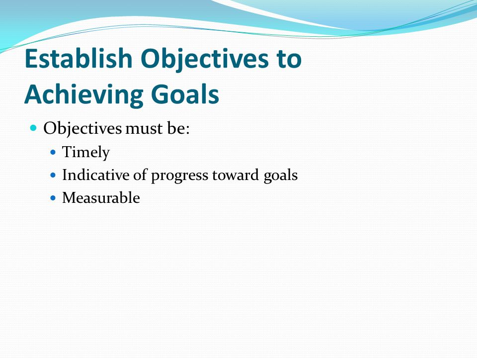 Establish Objectives to Achieving Goals Objectives must be: Timely Indicative of progress toward goals Measurable