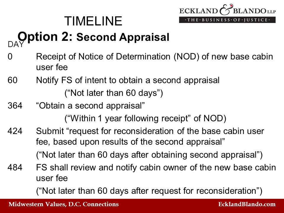 Midwestern Values, D.C. Connections EcklandBlando.com TIMELINE Option 2: Second Appraisal DAY 0 Receipt of Notice of Determination (NOD) of new base c