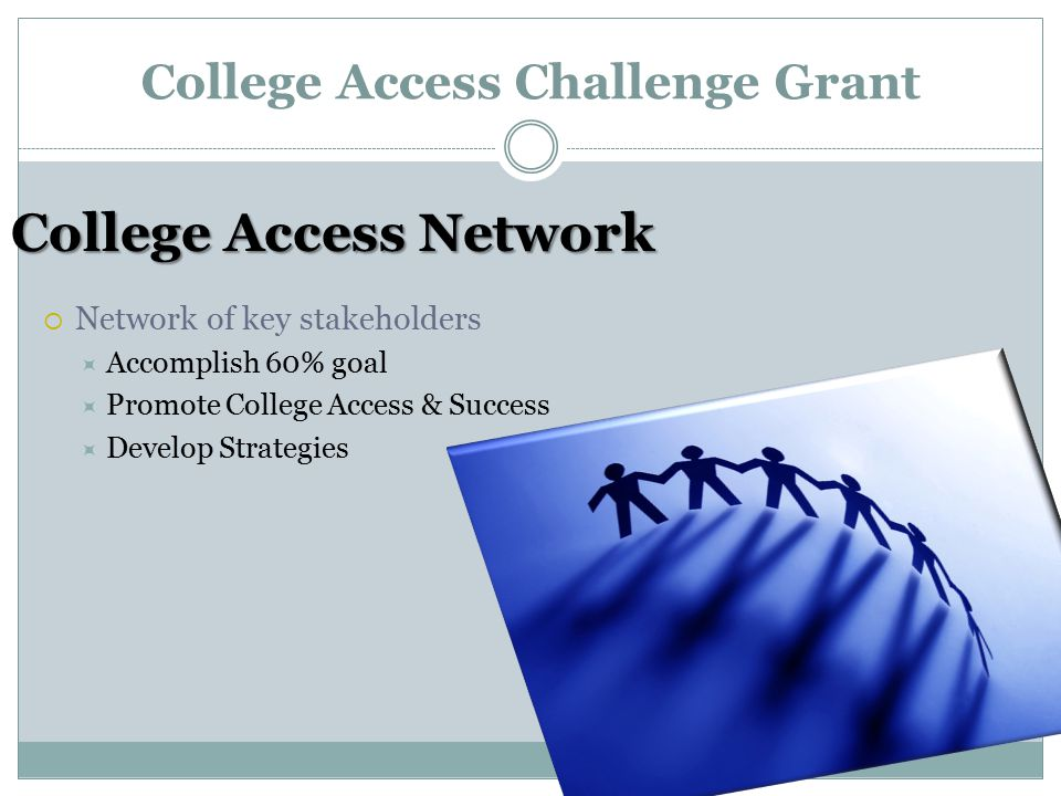 College Access Challenge Grant College Access Network  Network of key stakeholders  Accomplish 60% goal  Promote College Access & Success  Develop