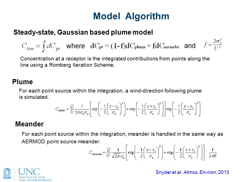 8 Model Algorithm Steady-state, Gaussian based plume model Concentration at a receptor is the integrated contributions from points along the line usin