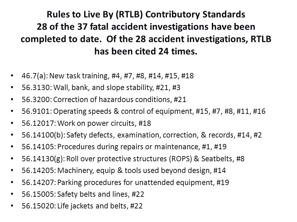 Rules to Live By (RTLB) Contributory Standards 28 of the 37 fatal accident investigations have been completed to date. Of the 28 accident investigatio