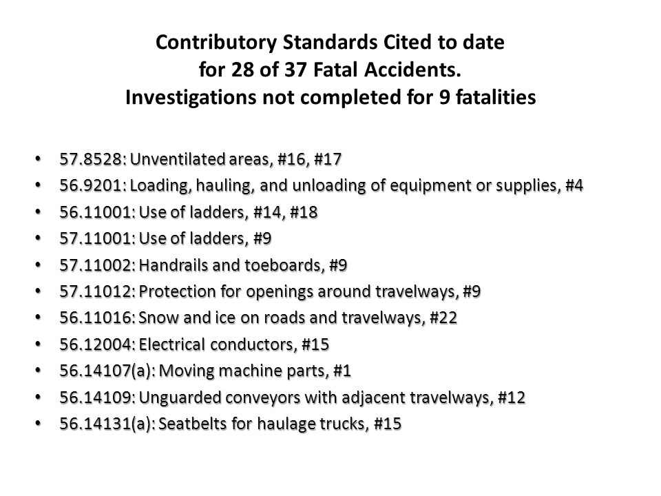 Contributory Standards Cited to date for 28 of 37 Fatal Accidents. Investigations not completed for 9 fatalities 57.8528: Unventilated areas, #16, #17