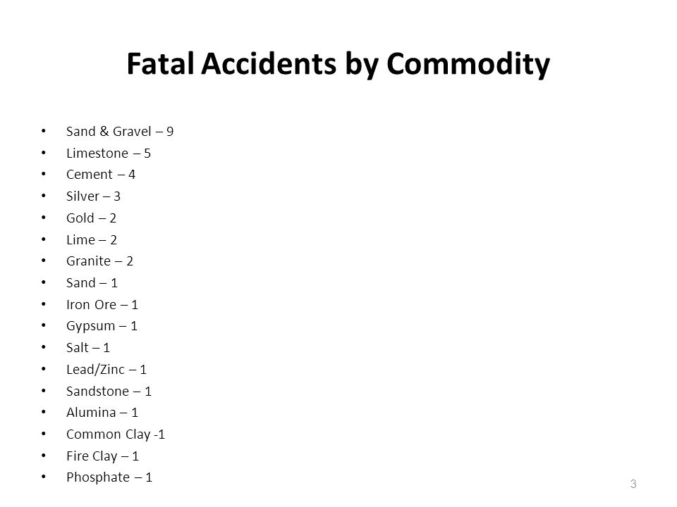 Fatal Accidents by Commodity Sand & Gravel – 9 Limestone – 5 Cement – 4 Silver – 3 Gold – 2 Lime – 2 Granite – 2 Sand – 1 Iron Ore – 1 Gypsum – 1 Salt
