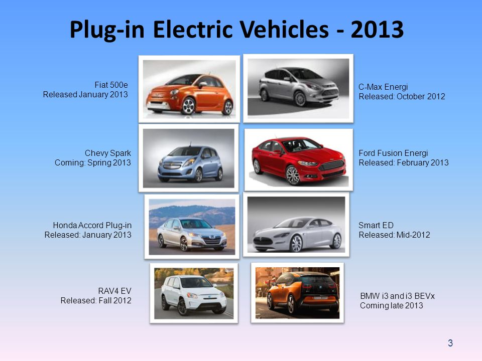 3 Plug-in Electric Vehicles - 2013 Ford Fusion Energi Released: February 2013 C-Max Energi Released: October 2012 Chevy Spark Coming: Spring 2013 Fiat 500e Released January 2013 Smart ED Released: Mid-2012 Honda Accord Plug-in Released: January 2013 RAV4 EV Released: Fall 2012 BMW i3 and i3 BEVx Coming late 2013
