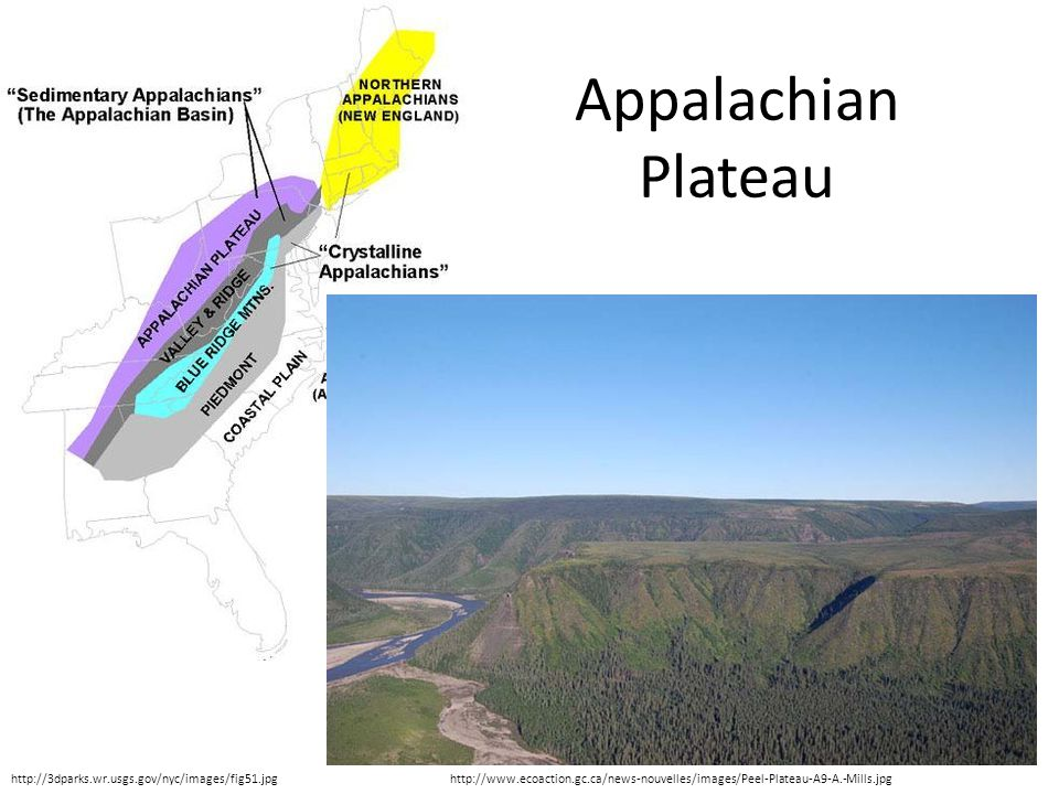 http://www.ecoaction.gc.ca/news-nouvelles/images/Peel-Plateau-A9-A.-Mills.jpg Appalachian Plateau http://3dparks.wr.usgs.gov/nyc/images/fig51.jpg