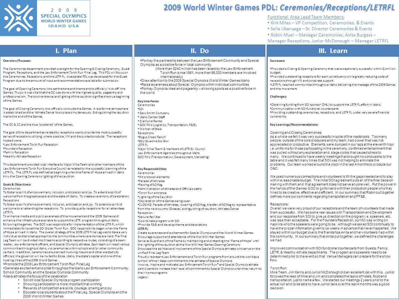 2009 World Winter Games PDL: Ceremonies/Receptions/LETRFL I.