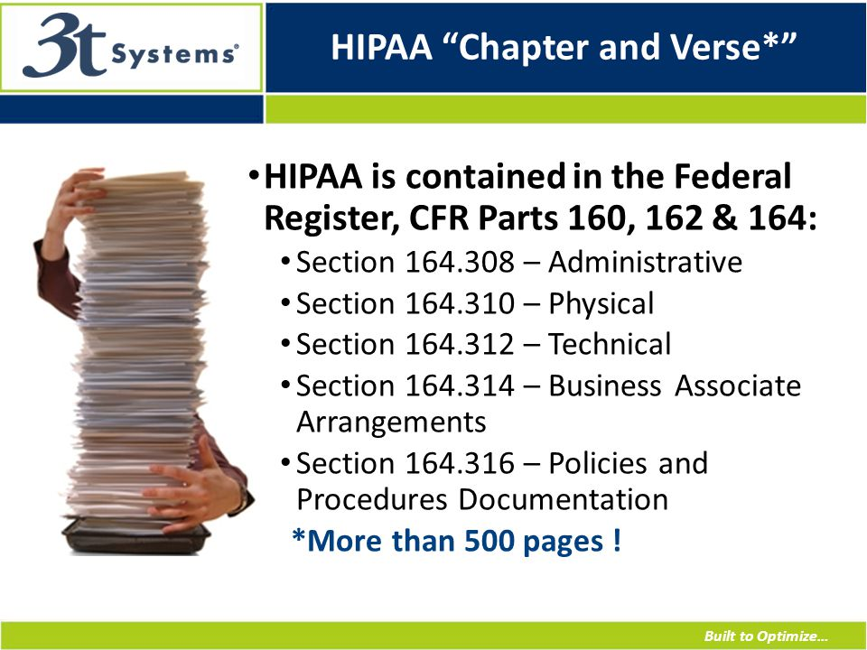 Built to Optimize… HIPAA Chapter and Verse* HIPAA is contained in the Federal Register, CFR Parts 160, 162 & 164: Section 164.308 – Administrative Section 164.310 – Physical Section 164.312 – Technical Section 164.314 – Business Associate Arrangements Section 164.316 – Policies and Procedures Documentation *More than 500 pages !