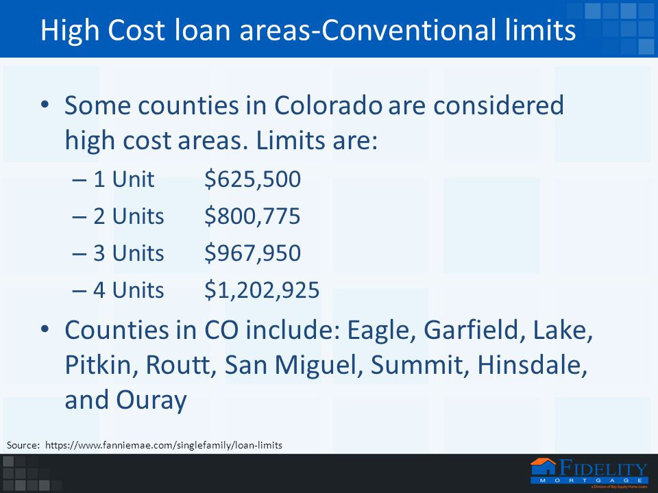 High Cost loan areas-Conventional limits Some counties in Colorado are considered high cost areas.