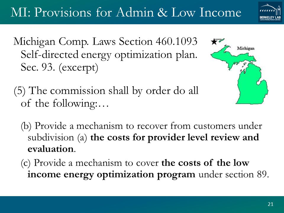 MI: Provisions for Admin & Low Income Michigan Comp.