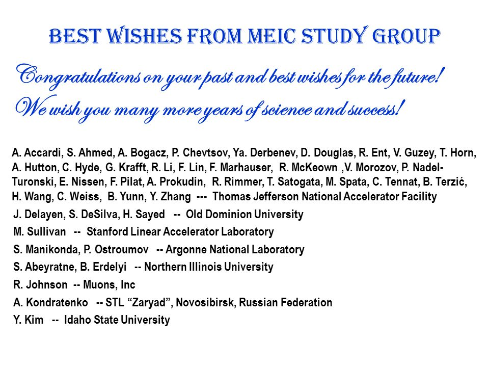 Best wishes From MEIC Study Group Congratulations on your past and best wishes for the future.