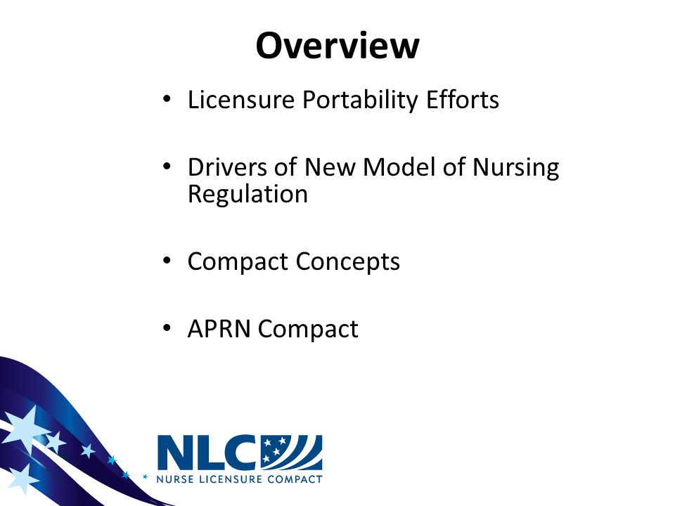 History APRN Compact 2002: NCSBN Adoption of APRN Compact 2005-2006: Vision Paper Developed by NCSBN APRN Advisory Committee 2006: Collaboration Between NCSBN & APRN Consensus Workgroup 2007: Joint Dialogue Group Formed 2008 — Adoption of Consensus Model for APRN Regulation