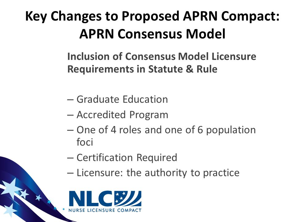 Key Changes to Proposed APRN Compact: APRN Consensus Model Inclusion of Consensus Model Licensure Requirements in Statute & Rule – Graduate Education – Accredited Program – One of 4 roles and one of 6 population foci – Certification Required – Licensure: the authority to practice
