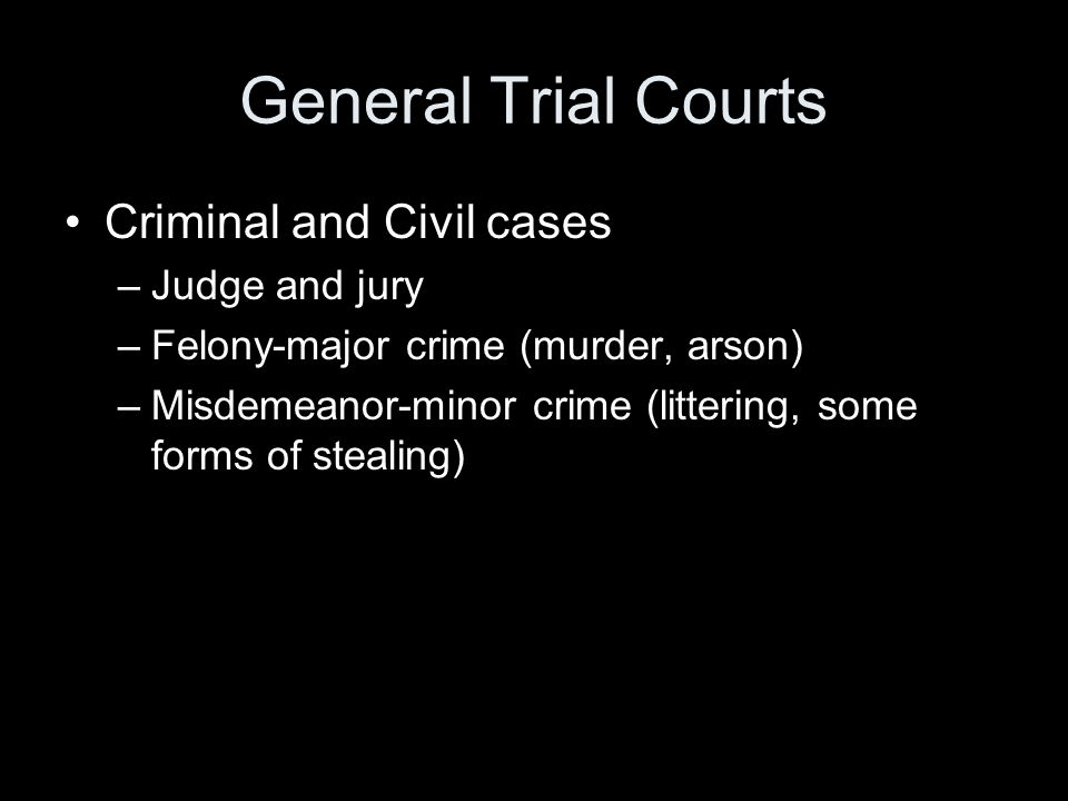 General Trial Courts Criminal and Civil cases –Judge and jury –Felony-major crime (murder, arson) –Misdemeanor-minor crime (littering, some forms of s