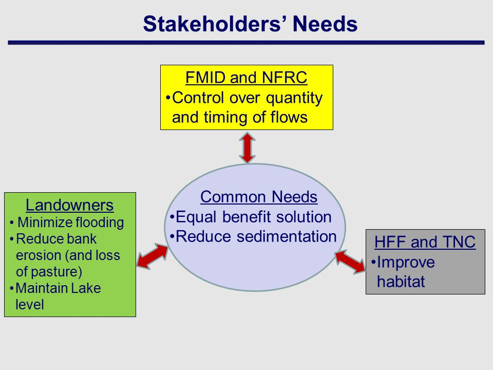 Stakeholders' Needs Common Needs Equal benefit solution Reduce sedimentation Landowners Minimize flooding Reduce bank erosion (and loss of pasture) Maintain Lake level HFF and TNC Improve habitat FMID and NFRC Control over quantity and timing of flows