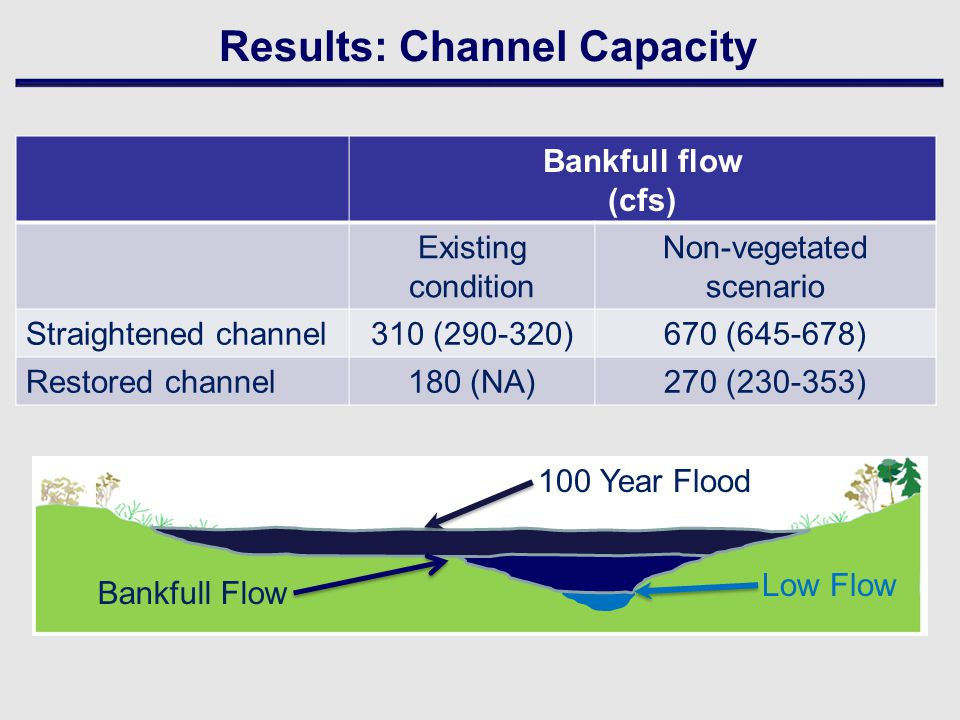 Bankfull flow (cfs) Existing condition Non-vegetated scenario Straightened channel310 (290-320)670 (645-678) Restored channel180 (NA)270 (230-353) Results: Channel Capacity Low Flow Bankfull Flow 100 Year Flood
