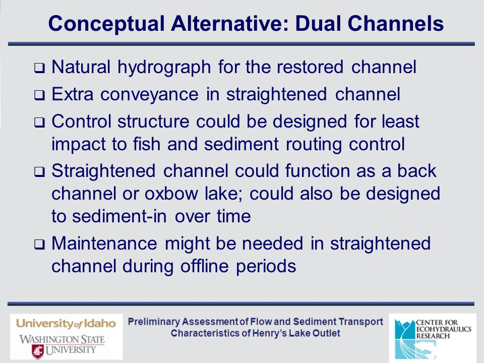 Conceptual Alternative: Dual Channels  Natural hydrograph for the restored channel  Extra conveyance in straightened channel  Control structure could be designed for least impact to fish and sediment routing control  Straightened channel could function as a back channel or oxbow lake; could also be designed to sediment-in over time  Maintenance might be needed in straightened channel during offline periods