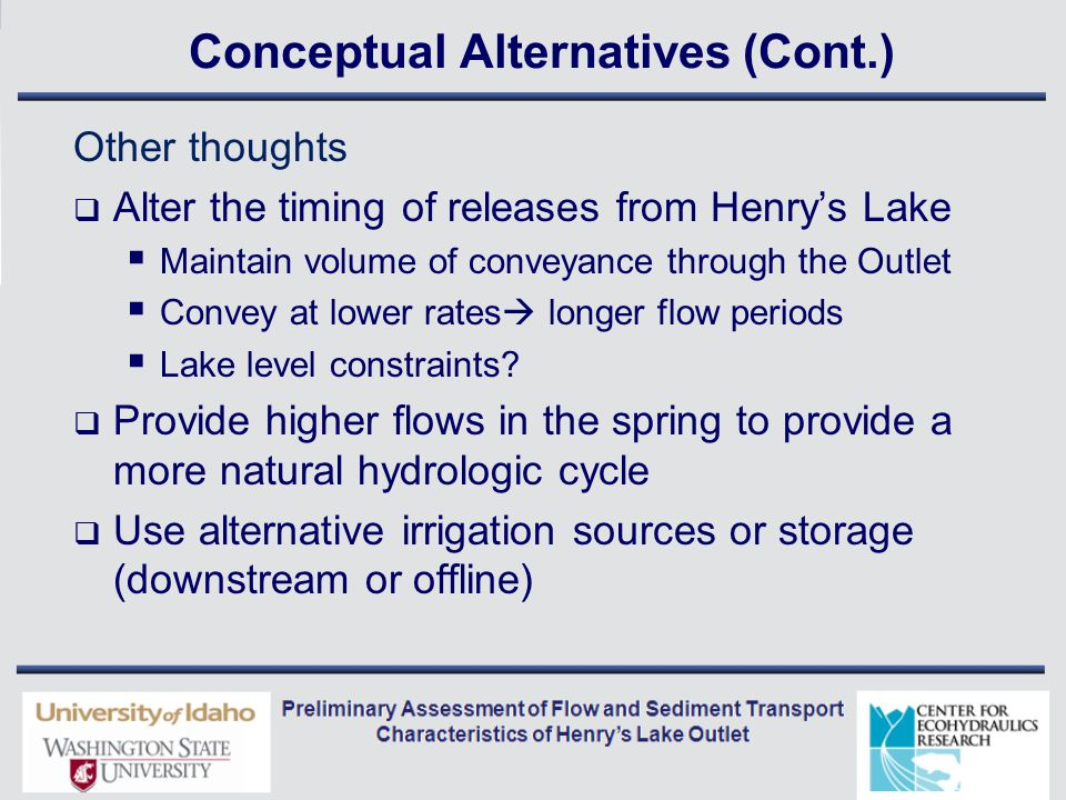 Conceptual Alternatives (Cont.) Other thoughts  Alter the timing of releases from Henry's Lake  Maintain volume of conveyance through the Outlet  Convey at lower rates  longer flow periods  Lake level constraints.