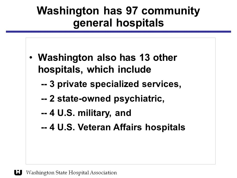 Washington has 97 community general hospitals Washington also has 13 other hospitals, which include -- 3 private specialized services, -- 2 state-owned psychiatric, -- 4 U.S.