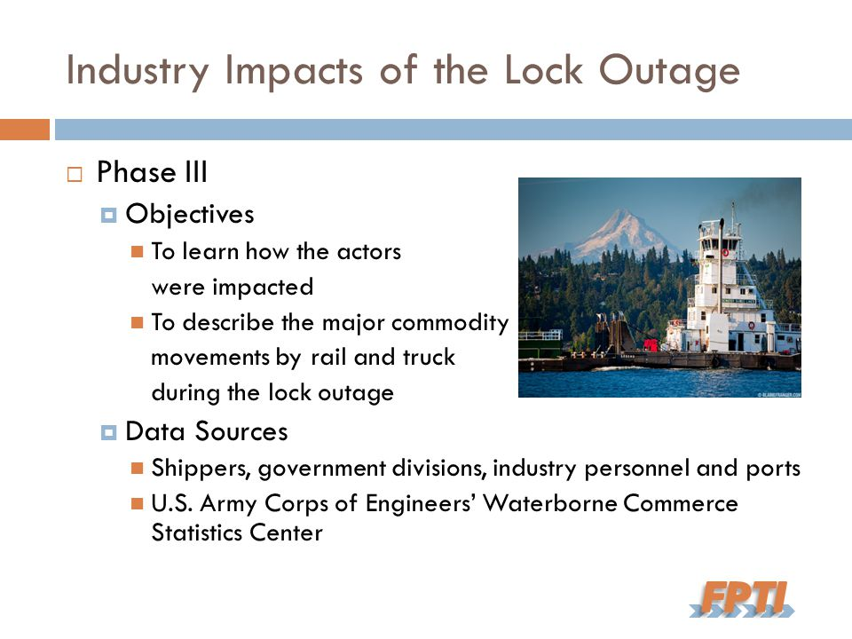 Industry Impacts of the Lock Outage  Phase III  Objectives To learn how the actors were impacted To describe the major commodity movements by rail and truck during the lock outage  Data Sources Shippers, government divisions, industry personnel and ports U.S.