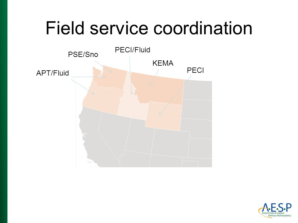 Field service coordination APT/Fluid PECI/Fluid KEMA PSE/Sno PECI